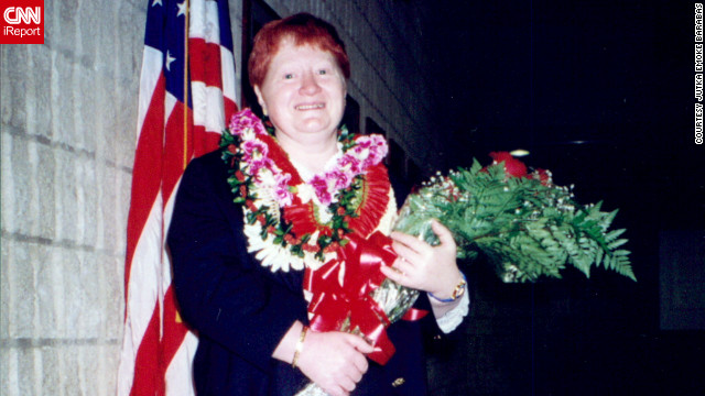 Jutka Emoke Barabas smiles for the camera at her naturalization ceremony in Honolulu in 2000.