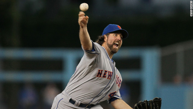 Knuckleballer R.A. Dickey of the New York Mets pitching a shutout against the Los Angeles Dodgers on June 29.