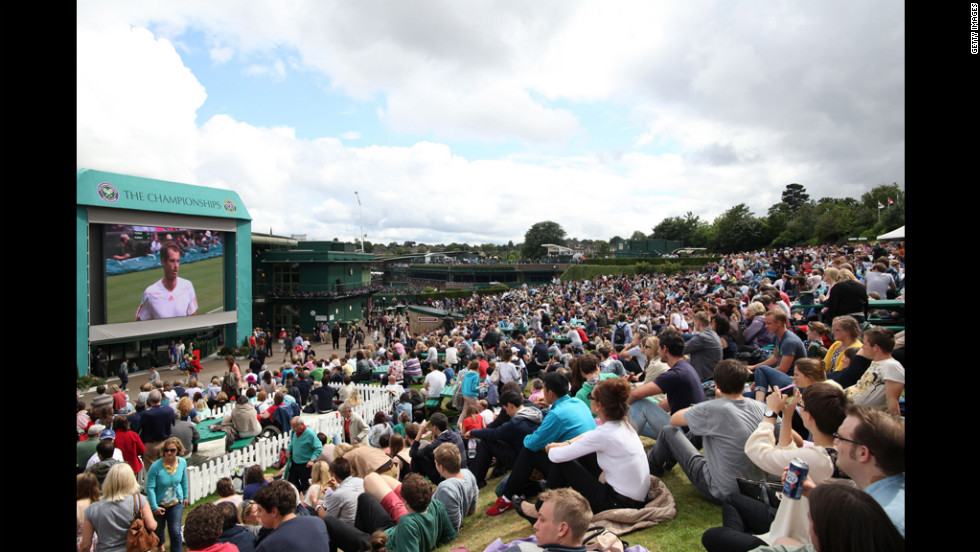 A general view of the crowd on Murray Mount on Day Nine of the Wimbledon Lawn Tennis Championships.