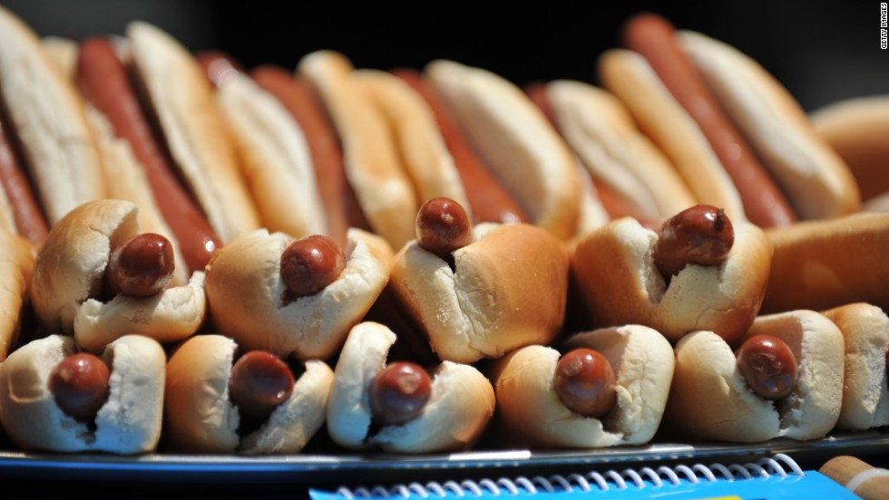 A pile of hot dogs sits on a table at the official weigh-in ceremony for the Nathan's hot dog contest Tuesday.