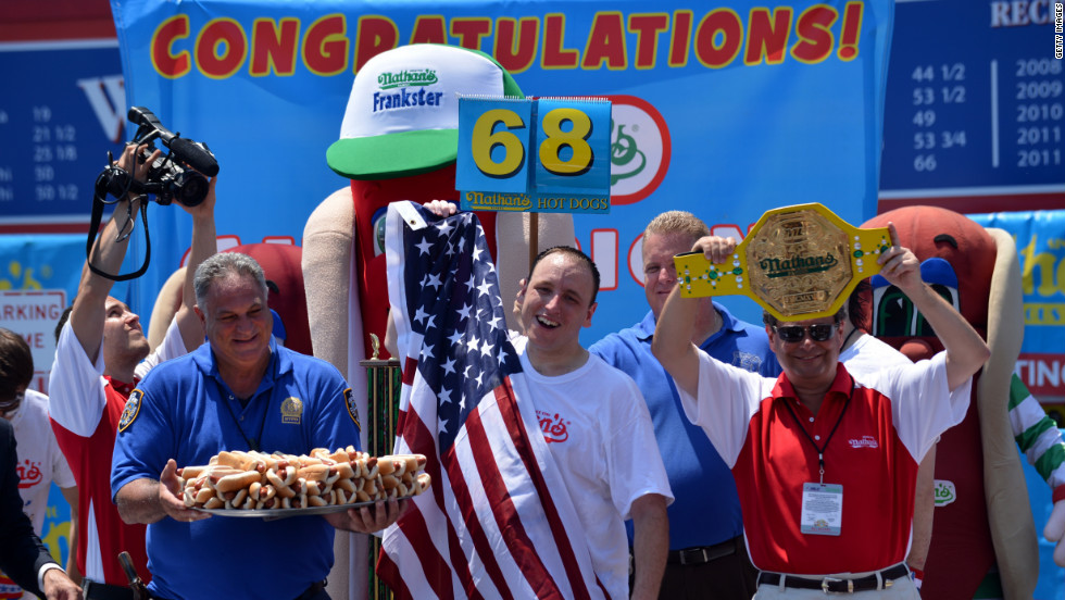 Chestnut tied his world record Wednesday by downing 68 hot dogs, marking his sixth win at the competition.
