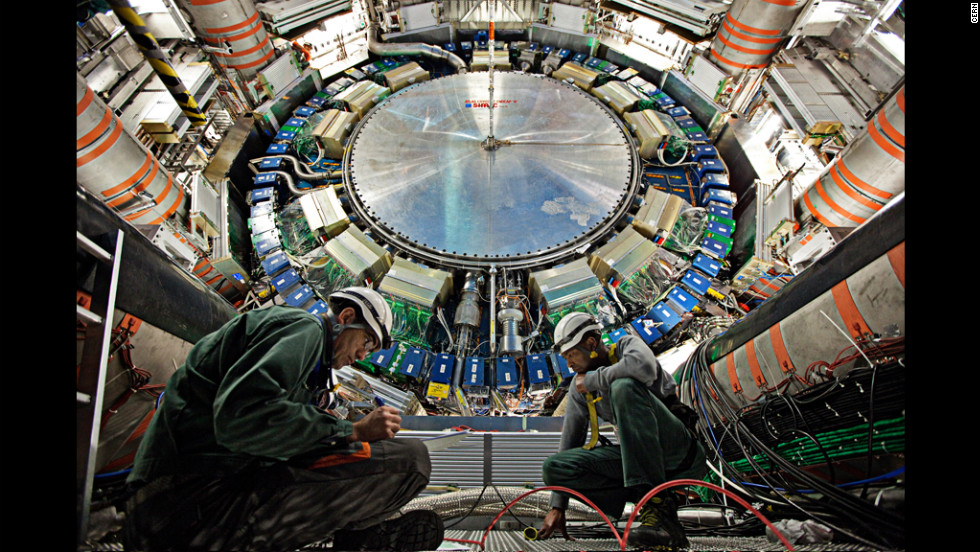 "The ATLAS experiment, seen here in 2011, also detected the Higgs boson, a particle that helps explain why matter has mass. It has been called the ""God particle"" because of a book by that title, but scientists hate the name."