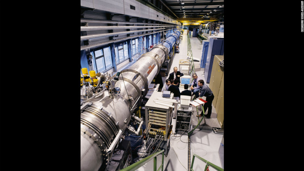 "The particle accelerator magnets of the LHC are shown at the underground test facility at CERN near Geneva. Many scientists dislike the term ""God particle,"" even though it's become popular in the media. The nickname came from the title of a book by Leon Lederman, who reportedly wanted to call it the ""Goddamn Particle"" since it was so hard to find."