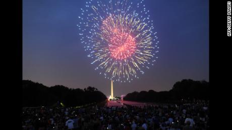 Fireworks illuminate the night sky over the Washington Monument during Fourth of July celebrations in Washington, DC, on July 4, 2012.