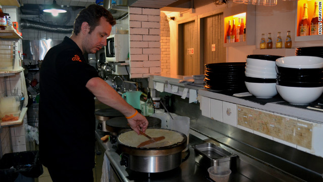 Fleur de Sel owner and head chef Gregory Alexandre cooks one of the kitchen's most popular teatime crepes.
