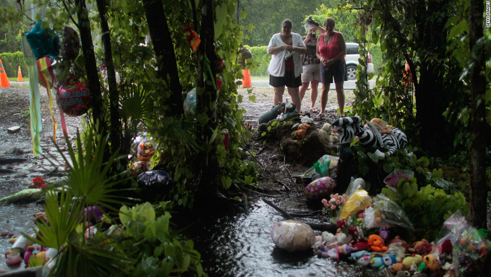 Many people, both locally and nationally, followed the case. From left, Taci Bullis, Tina Barthlow and Julie Steele of Pittsburgh visit a memorial for Caylee Anthony, where the 2-year-old's remains were found on July 15, 2011.