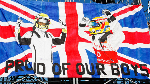 A banner in support of British drivers Lewis Hamilton and Jenson Button
