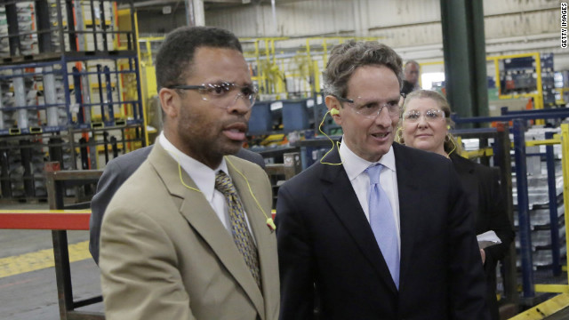 Rep. Jesse Jackson Jr. and Treasury Secretary Tim Geithner visit a Ford plant in Chicago in early April.
