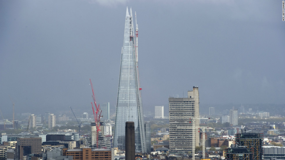 The Shard under construction in central London on April 25, 2012. The building, which will be inaugurated on July 5 in London with a huge light show, is the highest in the European Union, standing at 310 meters (1,017 feet).