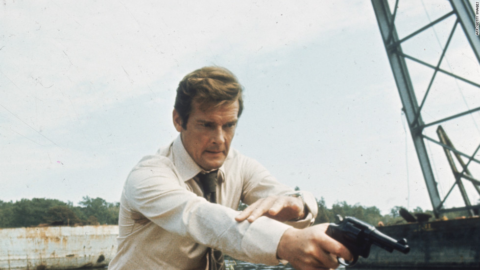 "British actor Roger Moore filming the Bond film ""Live and Let Die"" in 1973."