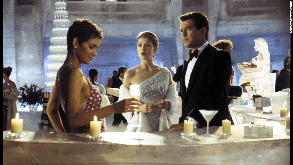"Jinx, played by Halle Berry, Miranda Frost (Rosamund Pike), and Bond (played by Pierce Brosnan) meet in the Ice Palace in the 2002 movie ""Die Another Day."""
