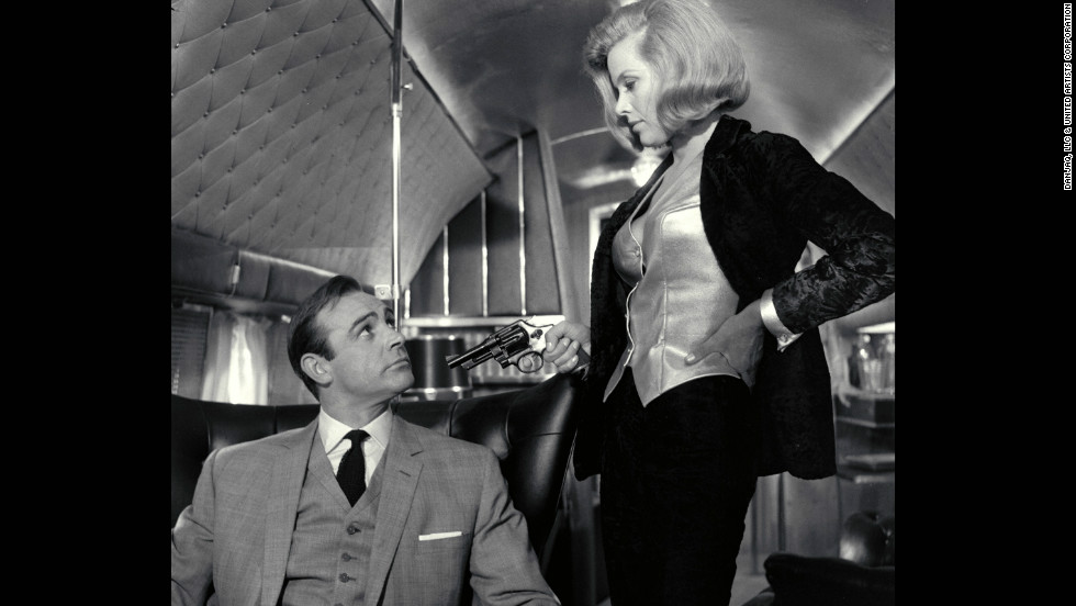 "Pussy Galore, played by Honor Blackman, and Sean Connery as Bond, in 1964's ""Goldfinger.&인용;"