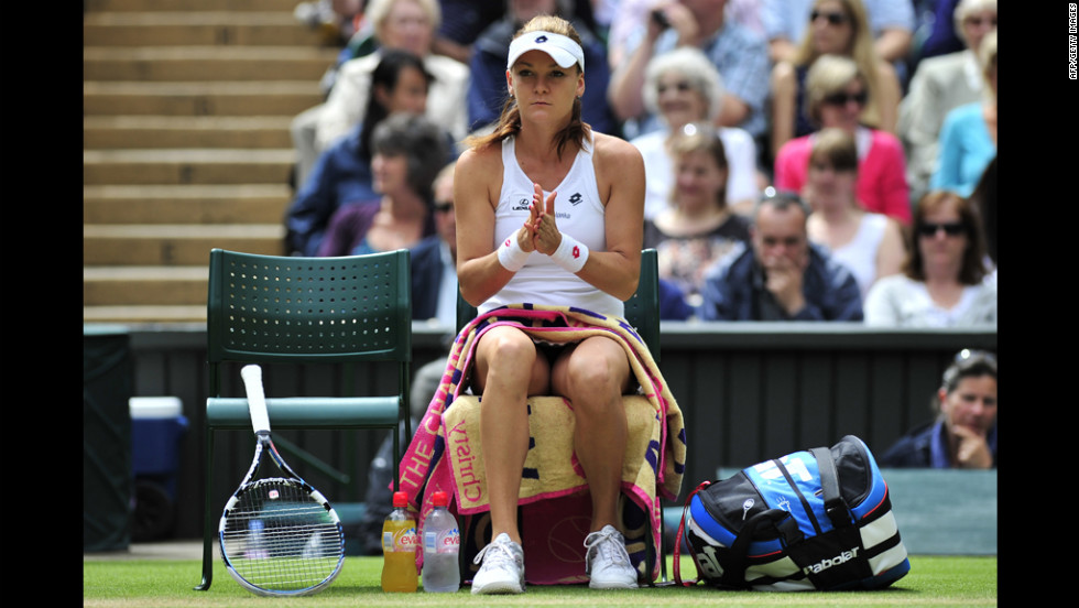 Radwanska rests on her chair during a break between games during the match against Williams. Radwanska won on her Grand Slam semifinal debut to become Poland's first major finalist in 75 years.