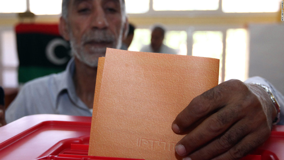 A man casts his ballot at an Abu Slim polling station near Tripoli.