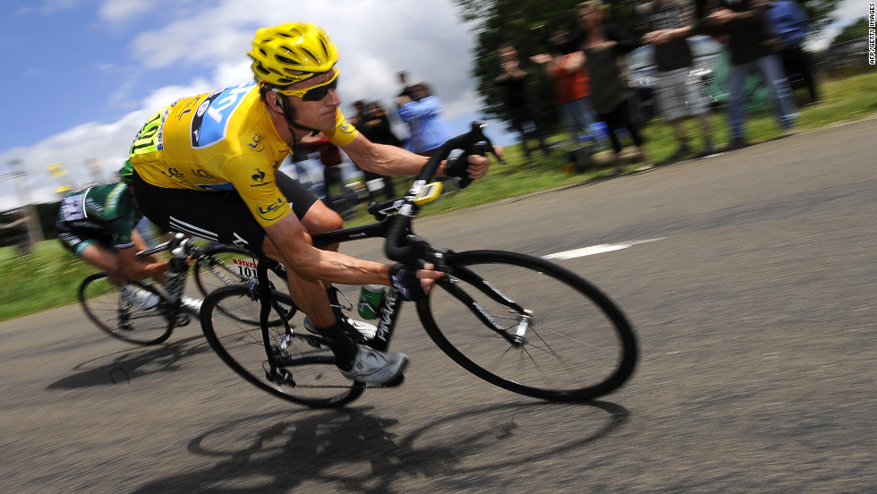 Bradley Wiggins of Great Britain went into Sunday's stage wearing the yellow jersey as the race's overall leader.