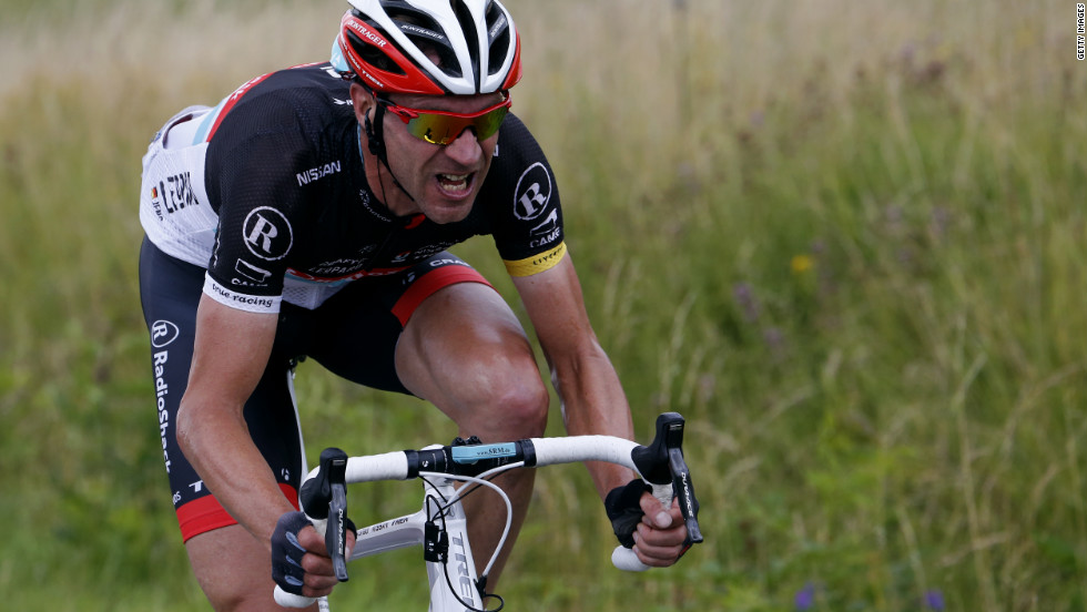 Germany's Jens Voigt, the oldest cyclist in the Tour at 40, attempts to break away from the peloton during the race Sunday.