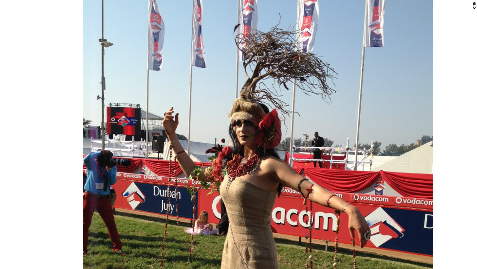 Model Sharde Visagie wore one of the more spectacular creations to grace the 'Best Dressed' competition. South African designer Lavashni Valjee crafted this outfit from sacking and branches.