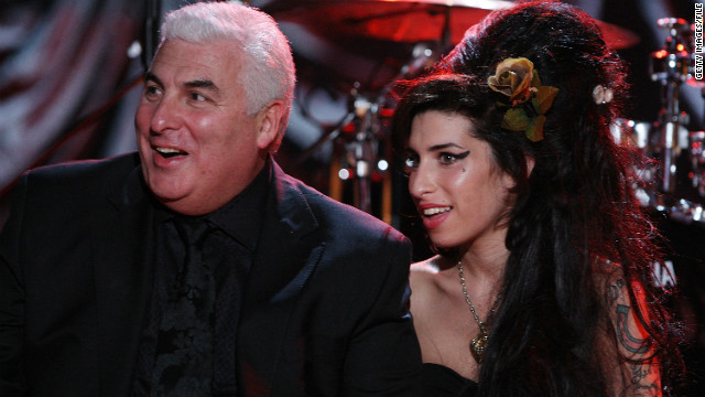 Mitch and  Amy Winehouse awaiting news in London of her Grammy Award for the 50th Grammy Awards in 2008.