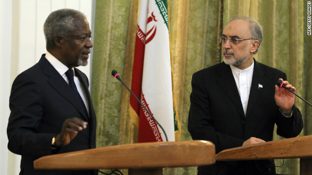 U.N. envoy Kofi Annan, pictured with Iranian Foreign Minister Ali Akbar Salehi, says Iran has a part to play in Syria crisis.