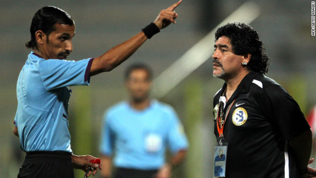 Diego Maradona is warned by a referee during Al-Wasl's defeat in the final of the GCC Champions League in June.