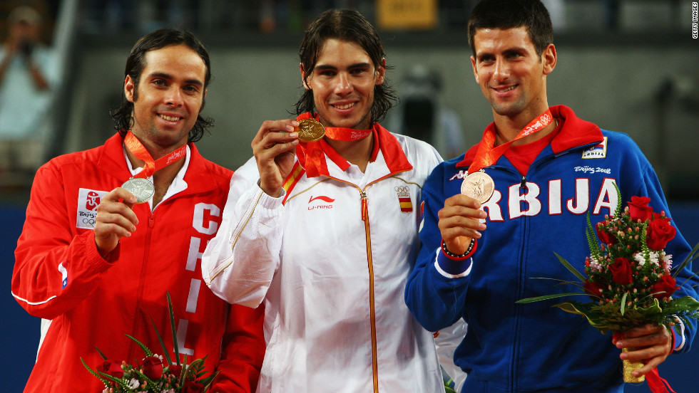 Fernando Gonzalez, left, poses with his silver medal at the 2008 Olympic Games after being beaten by Rafael Nadal, center, in the final. Novak Djokovic, right, took the bronze.