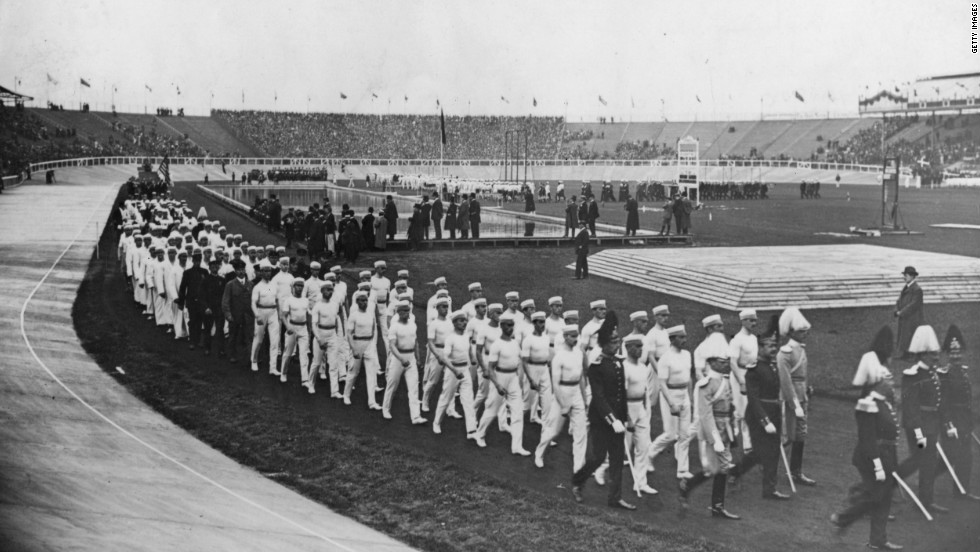 The Swedish team march past spectators during the opening ceremony, held on April 27.