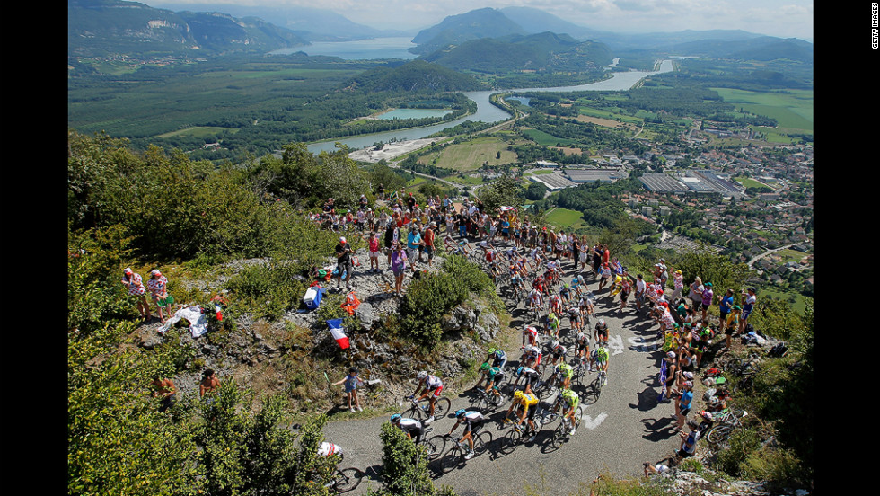 "Riders make their way up the Col du Grand Columbier, the most challenging climb of the race, rated as ""beyond categorization."" Most climbs are rated from 1 to 4, with four being the easiest."