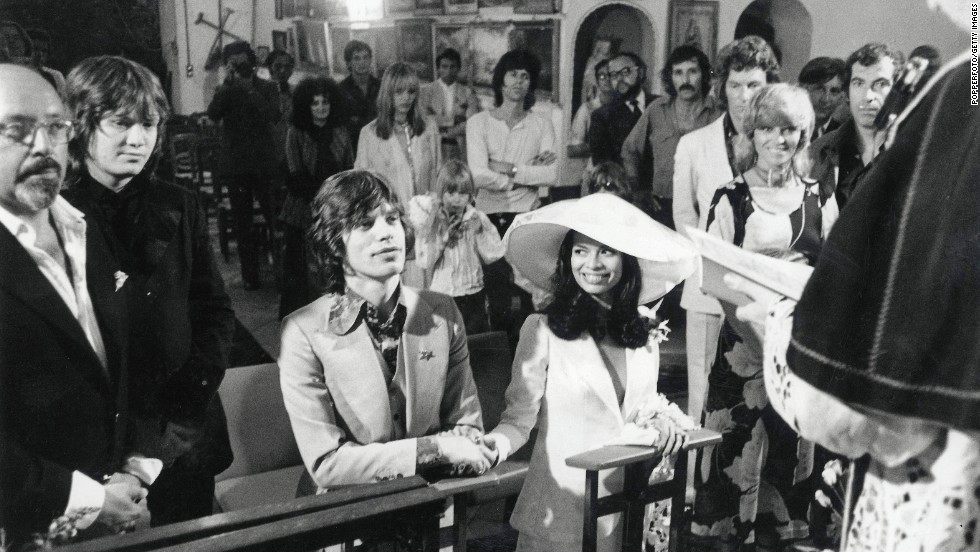 Mick Jagger and Nicaraguan girlfriend Bianca Perez Moreno De Macias marry in a small fisherman's church in St. Tropez, France, in 1971. Among the guests pictured are film director Roger Vadim, actress Nathalie Delon, photographer Patrick Lichfield, Keith Richards and Anita Pallenberg.