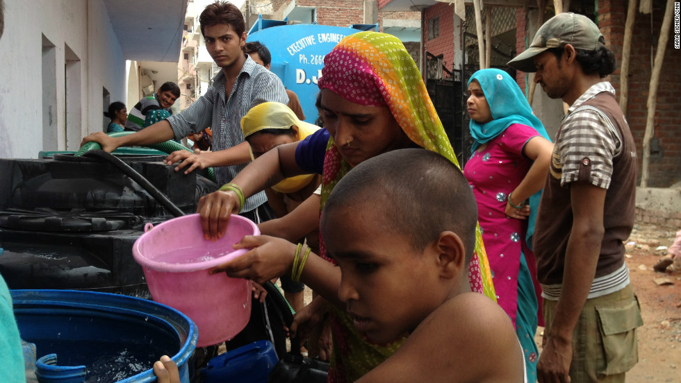 Entire communities in the Indian capital, New Delhi, rely on trucks to deliver water to their neighborhoods.