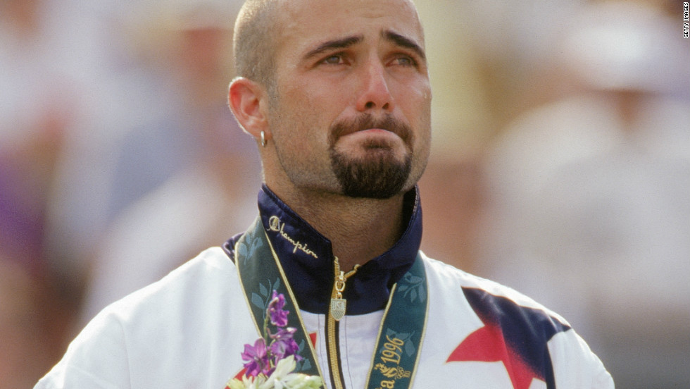 Agassi won Olympic gold in 1996 at Atlanta, and showed just how much it meant to him at the victory ceremony.