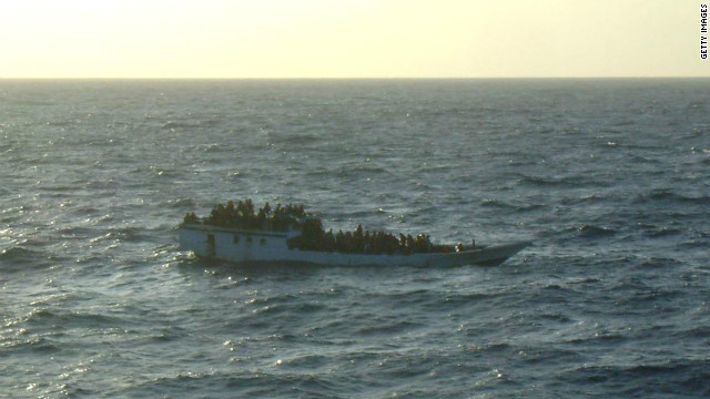 A boat carrying 150 suspected asylum seekers is spotted by Australian authorities prior to its sinking on June 27.