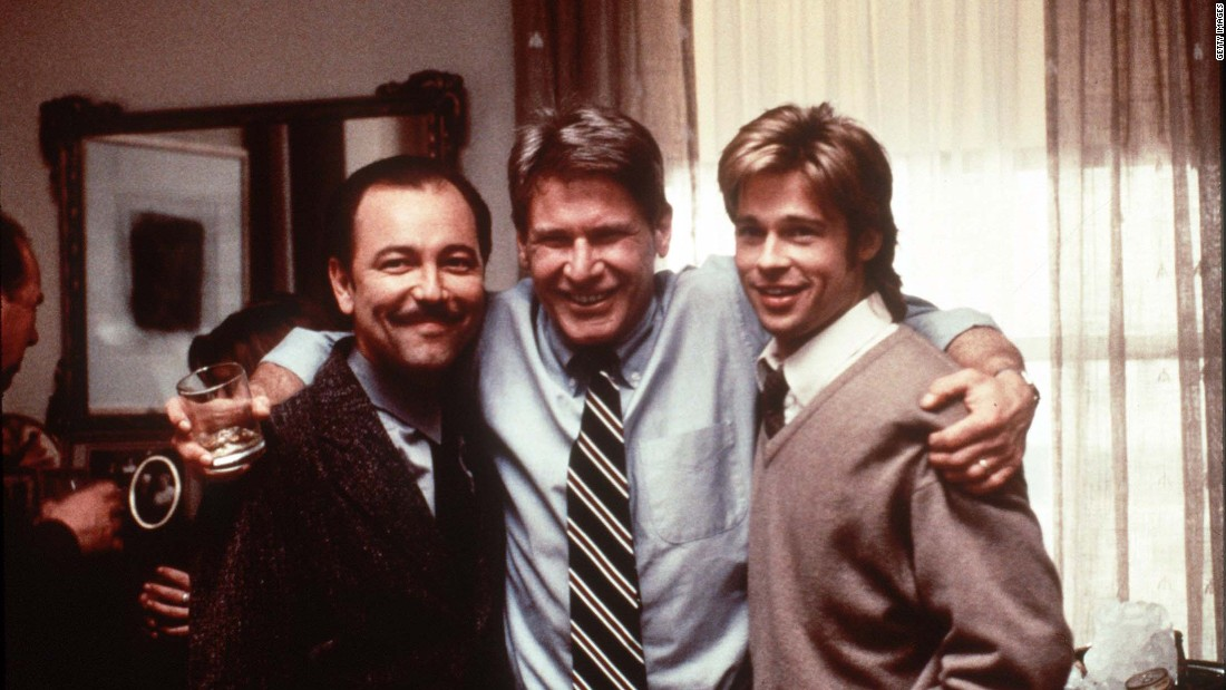 "From left, Ruben Blades, Ford and Brad Pitt appear in ""The Devil's Own"" in 1997."