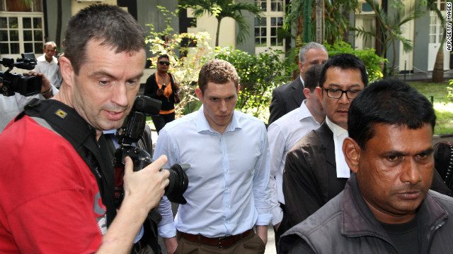 John McAreavey, widower of Michaela McAreavey, leaves the courthouse in this photo taken May 2012 in the Mauritian capital of Port Louis.