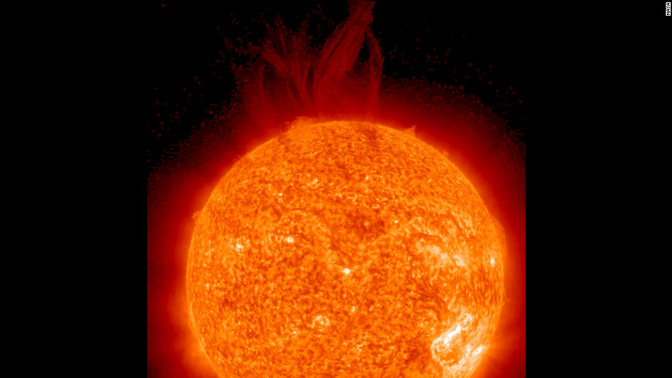 A very large filament became unstable and erupted June 27, 2012 as seen by the STEREO Ahead spacecraft in a wavelength of extreme UV light.
