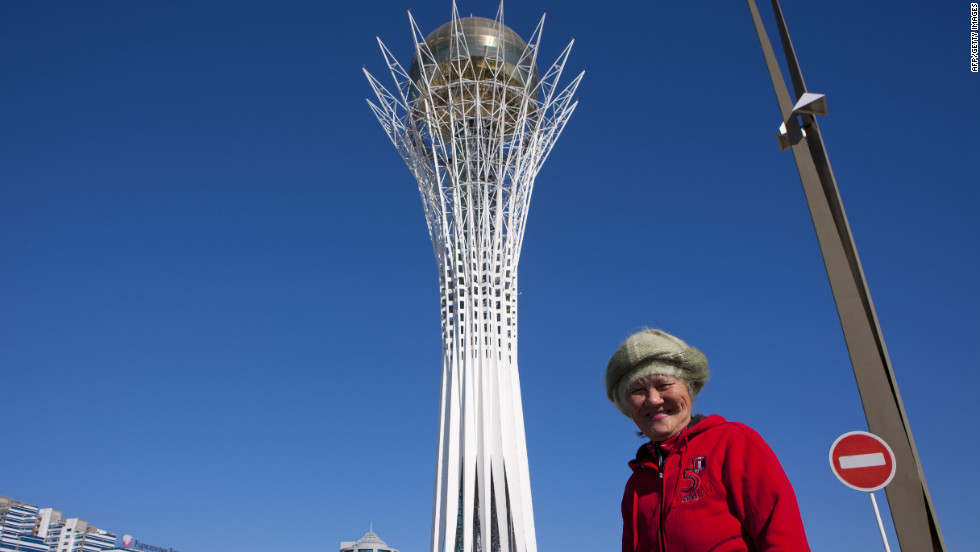 "The 100-meter-tall tower has been compared to a giant lollipop and is meant to evoke the local legend of the ""Tree of Life"". It was based on a sketch by President Nursultan Nazarbayev who has been instrumental in the development of Kazakhstan since coming to power in 1991."