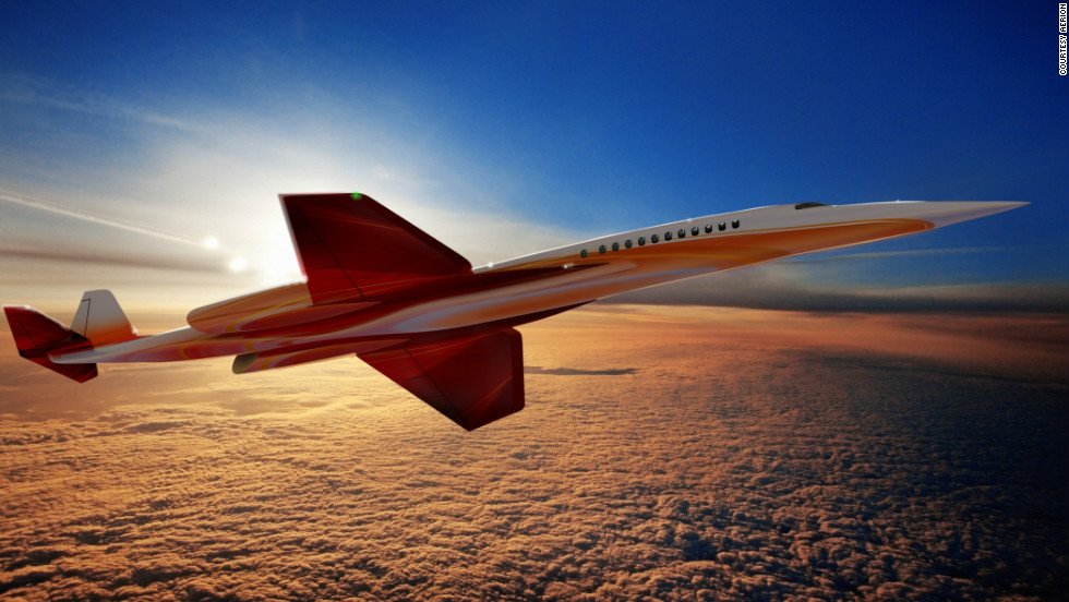 "Another rendering of the Aerion SBJ. Its backers promise the craft will ""herald a return to supersonic civil flight without Concorde's environmental and economic drawbacks."" If built, the business jet would fly at speeds up to Mach 1.6, but is optimized for cruise at both high subsonic and supersonic speeds."