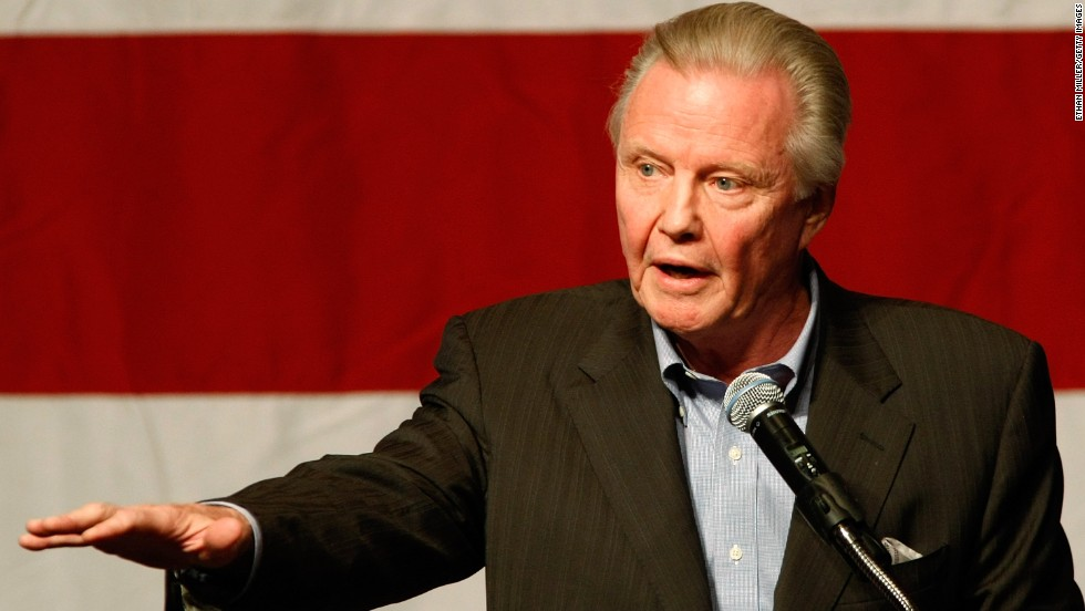 "Jon Voight speaks at a rally for U.S. Republican Senate candidate Sharron Angle at The Orleans in Las Vegas in 2010. He endorsed Mitt Romney in the 2012 race. In an open letter to President Obama in the Washington Times in 2010, he wrote, ""You have brought to Arizona a civil war, once again defending the criminals and illegals, creating a meltdown for good, loyal, law-abiding citizens."""