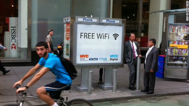 A pilot program is turning New York City pay-phone kiosks into wireless hotspots.