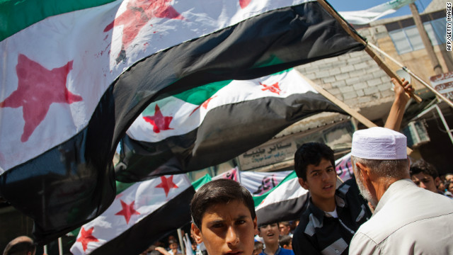 Thousands of Syrians from Mareh, a city in the northern countryside of Syria, protest against the massacre in Treimsa, in Hama province, on July 13, 2012