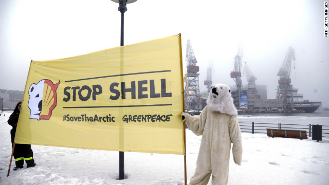 Greenpeace activists demonstrate on March 16 in the port of Helsinki Shell plans for Arctic gas exploration.
