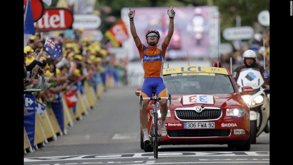 Luis-Leon Sanchez of Spain celebrates after winning the 14th stage of the Tour de France, which ran 191 kilometers (119 miles) from Limoux to Foix, France, on Sunday, July 15.