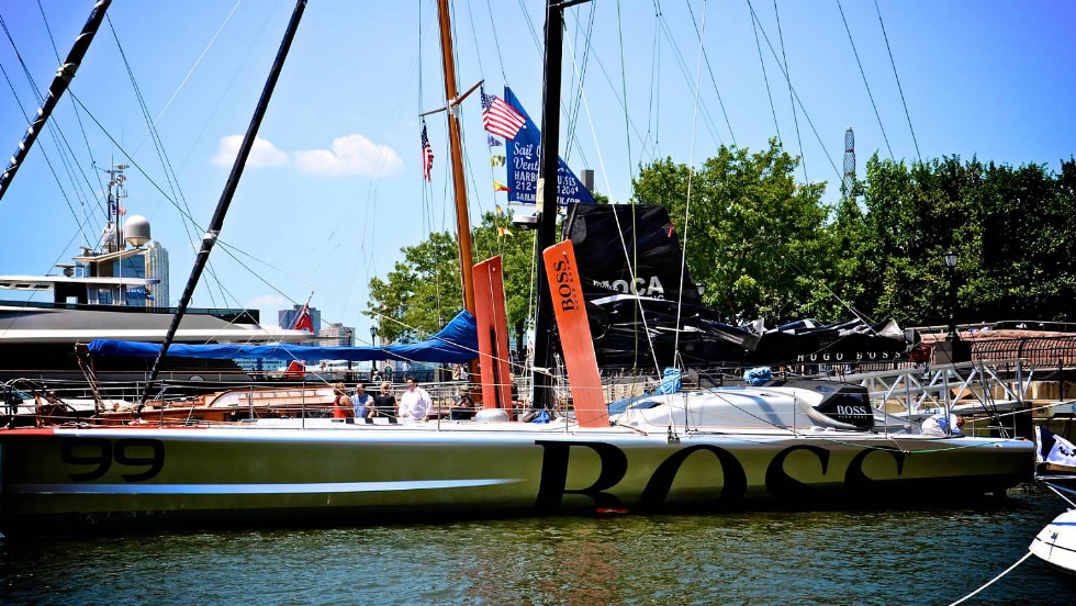 The boat, sponsored by Hugo Boss, that Alex Thompson will be sailing on in his attempt to make it solo around the world.