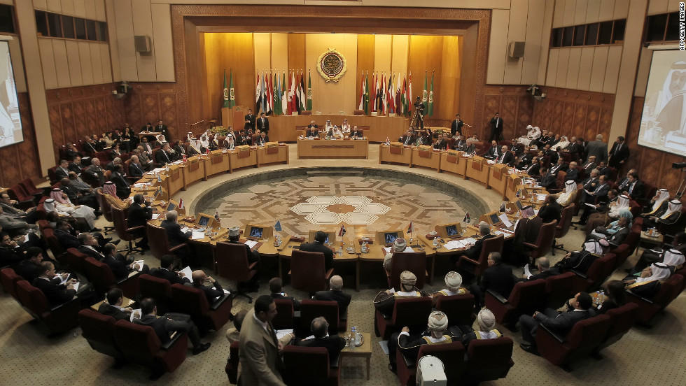 Arab foreign ministers attend an emergency meeting at the Arab League headquarters in Cairo on October 16, 2011, to discuss the crisis in Syria.