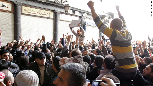 Hundreds of Syrians march from the Omayyed mosque in the centre of Damascus' Old City towards Souk Al-Hamadiyeh street on March 25, 2011 chanting: 'Daraa is Syria' and 'We will sacrifice ourselves for Syria,' as protests spread in Syria from the opposition's southern epicentre of Daraa to Damascus and a town south of the capital, where authorities moved to arrest at least five demonstrators. AFP PHOTO/STR (Photo credit should read -/AFP/Getty Images)