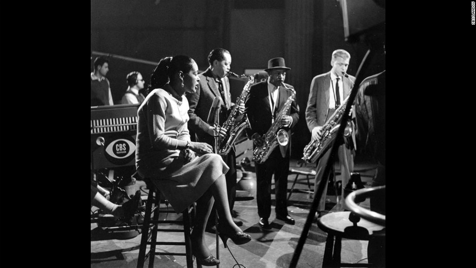 "From left, Holiday, performs with musicians Lester Young, Coleman Hawkins and Gerry Mulligan on the CBS television program ""The Seven Lively Arts"" in New York in 1957."