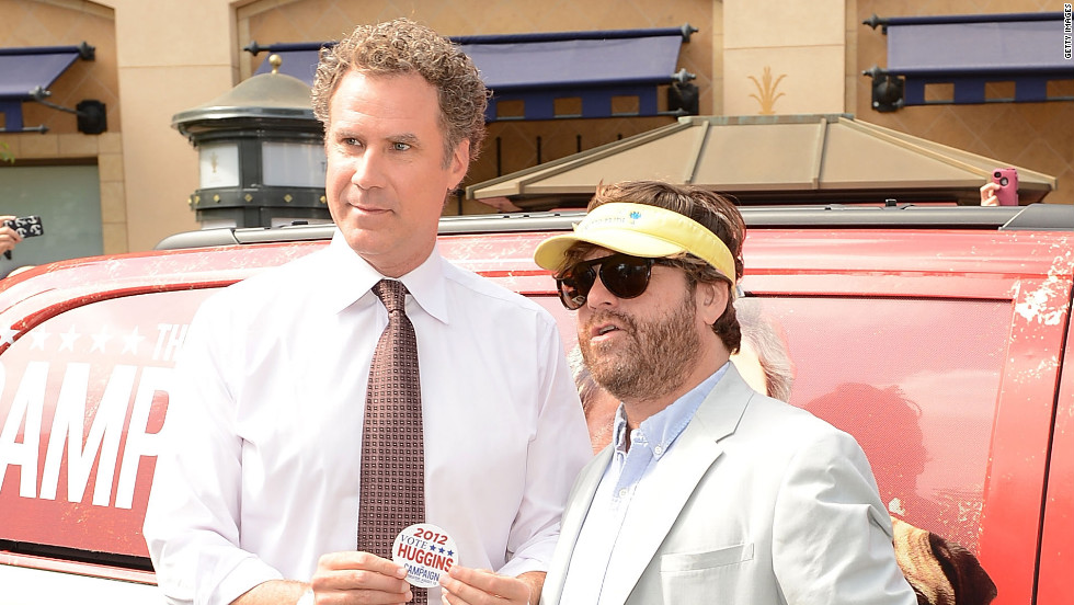 "Will Ferrell and Zach Galifianakis promote their new flick, ""The Campaign."""