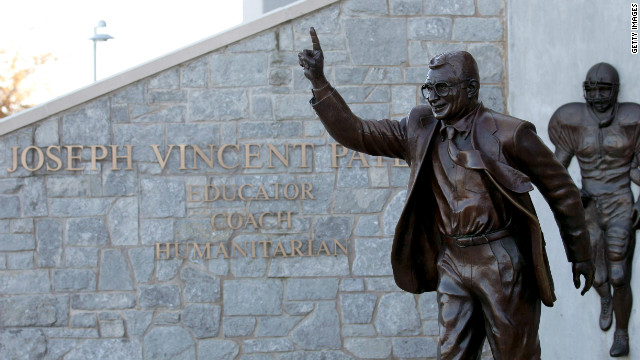 UNIVERSITY PARK, PA - NOVEMBER 08:  A statue of  Penn State University head football coach Joe Paterno is seen outside of Beaver Stadium on November 8, 2011 in University Park, Pennsylvania. Amid allegations that former assistant Jerry Sandusky was involved with child sex abuse, Paterno's weekly news conference was canceled about an hour before it was scheduled to occur. (Photo by Rob Carr/Getty Images)