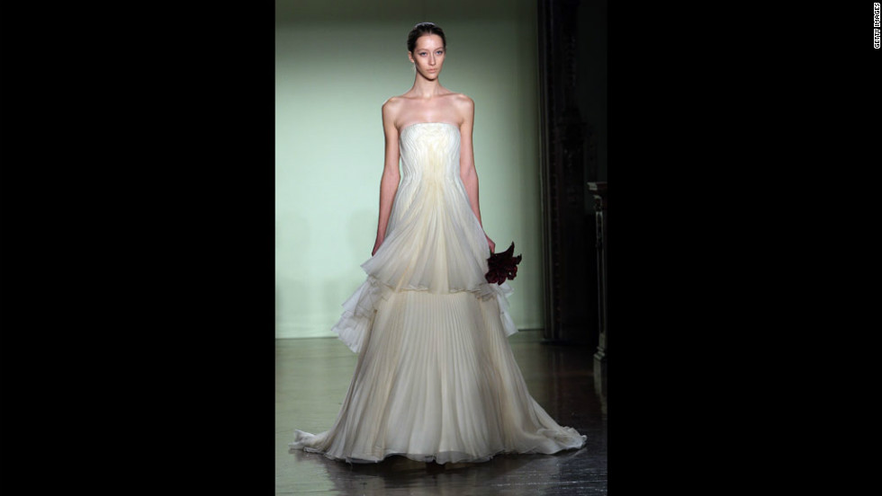 A model walks the runway in a strapless gown during the 2007 Vera Wang bridal collection show in New York City.