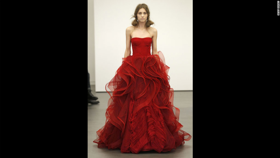 Vera Wang showed crimson gowns at her 2013 bridal show in April 2012 in New York City. Black dresses in her 2012 collection have raised concerns about her marital happiness at the time.