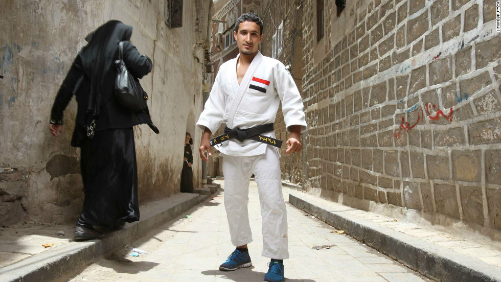 Some have overcome even greater hurdles. Ali Khousrof is a judo fighter from Yemen. He was shot in the abdomen during one of the many protests he attended against the regime.